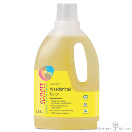 Sonett Folyékony mosószer színes ruhához - menta és citrom 1,5 liter